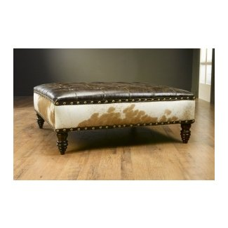 Leather Tufted Cocktail Ottoman