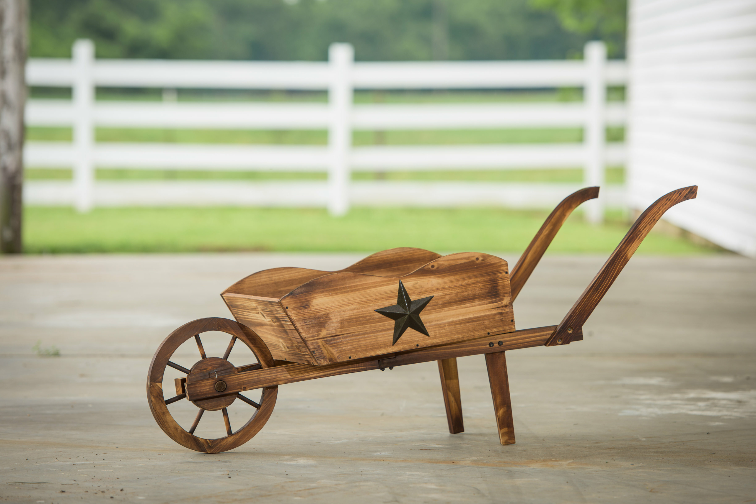 Leigh Country Char-log Pine Wheelbarrow Planter