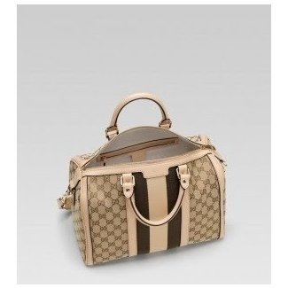 62a5060d5f28 Lyst - Gucci Vintage Web Boston Bag in Brown