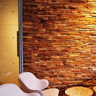 """Matrix 12"""" x 48"""" Reclaimed Engineered Wood Wall Paneling in Brown"""
