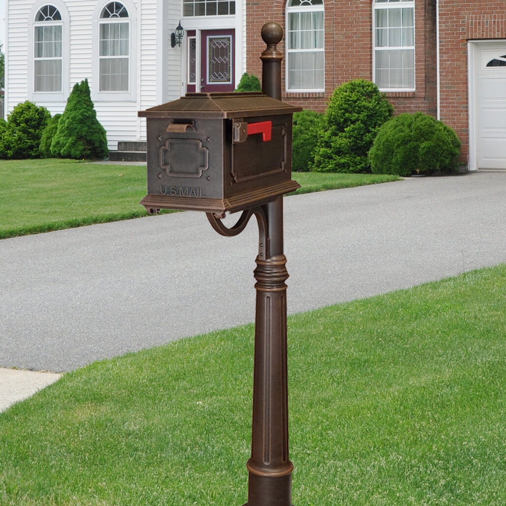 Metal Mailbox with Post