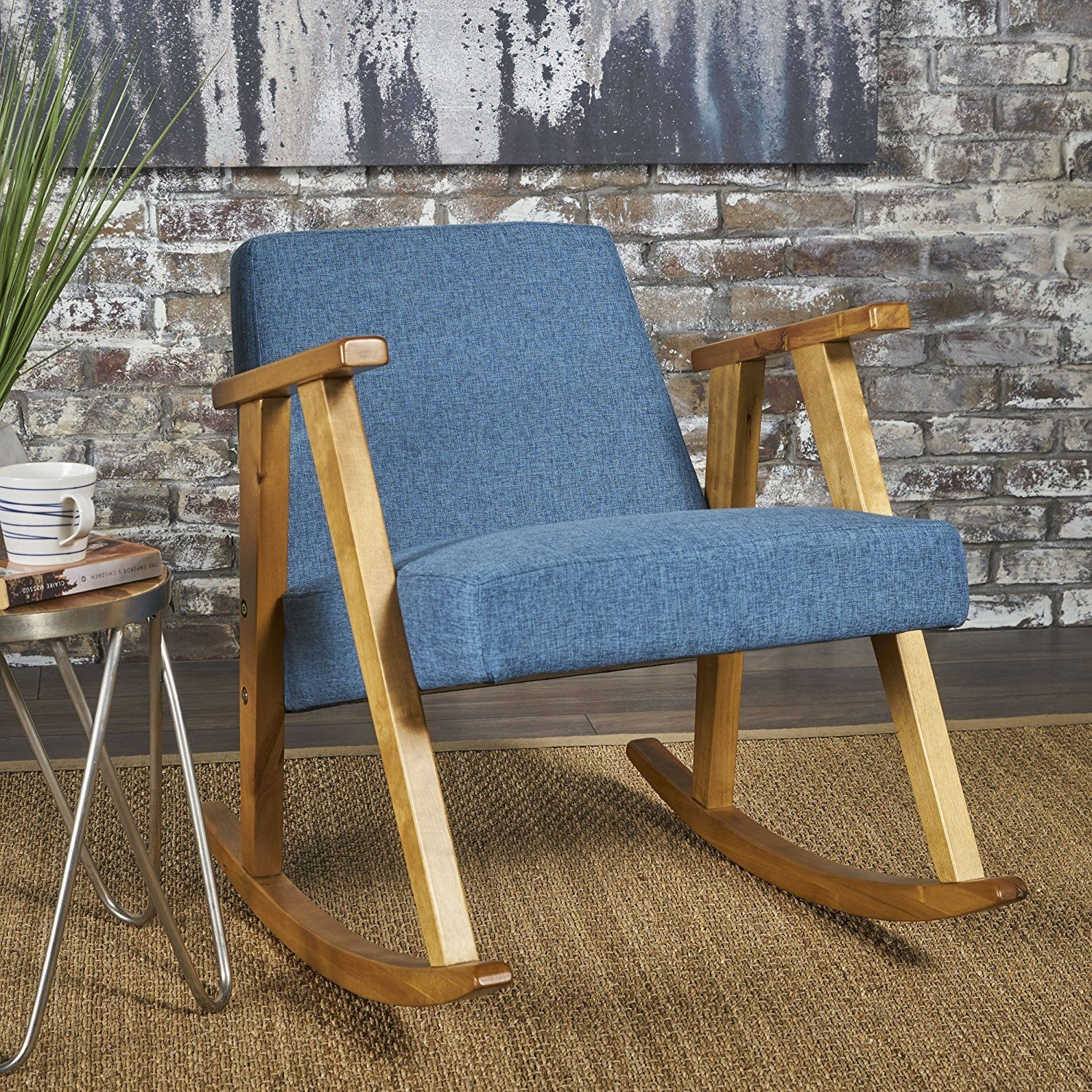 SSLine Modern Upholstered Rocking Chair with Ottoman Mid-Century ...