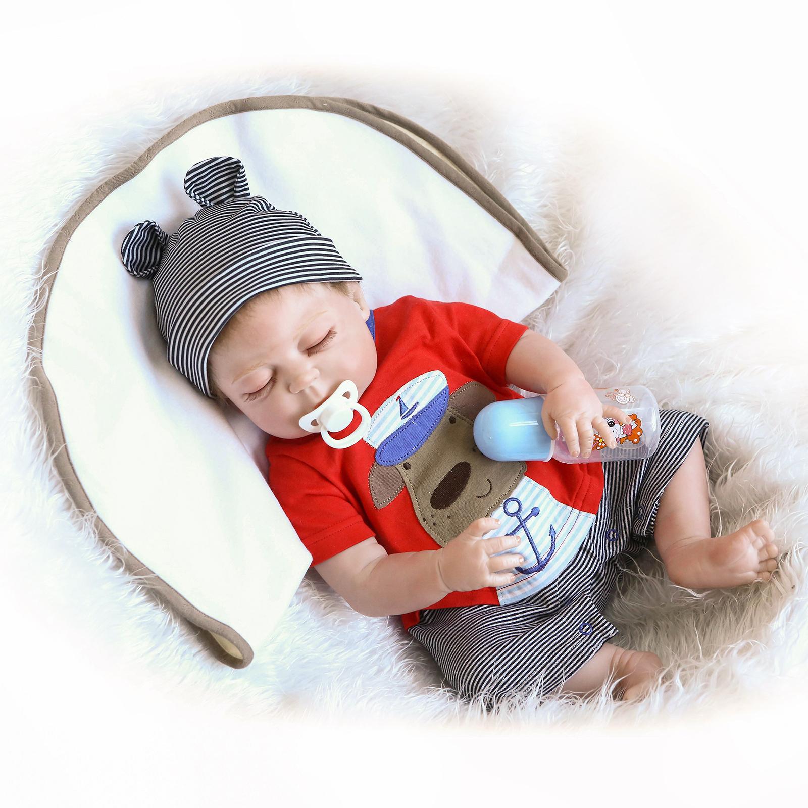 Doll newborn  Reborn Baby Full Body Vinyl Silicone Lifelike Dolls Boy Gift 22in