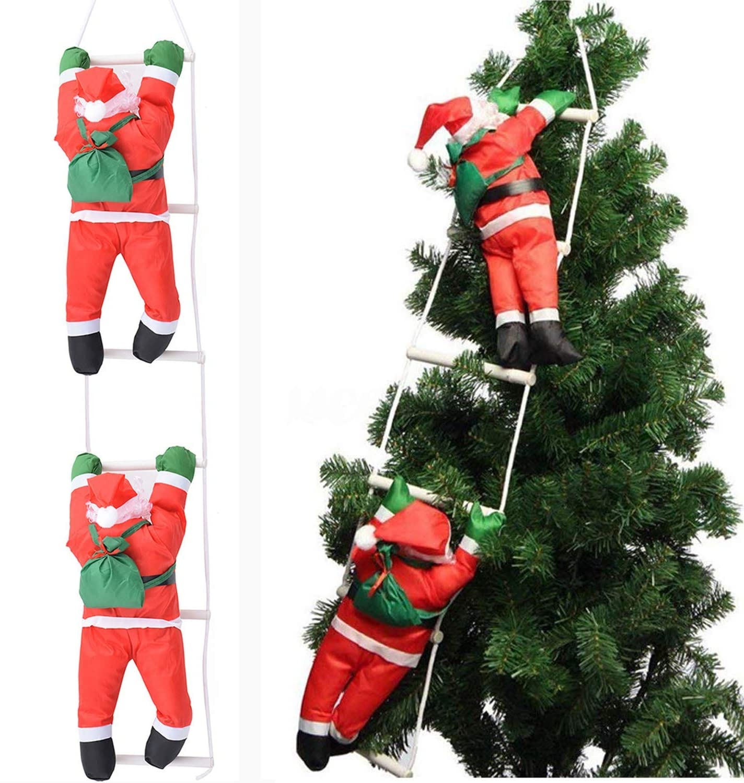Santa Climbing Ladder Outdoor Decoration  from visualhunt.com