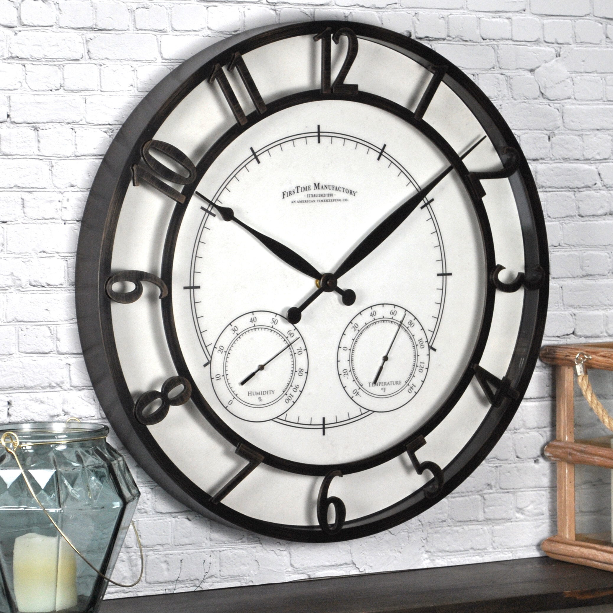 Decorative Outdoor Clock And Thermometer Set Visual Hunt