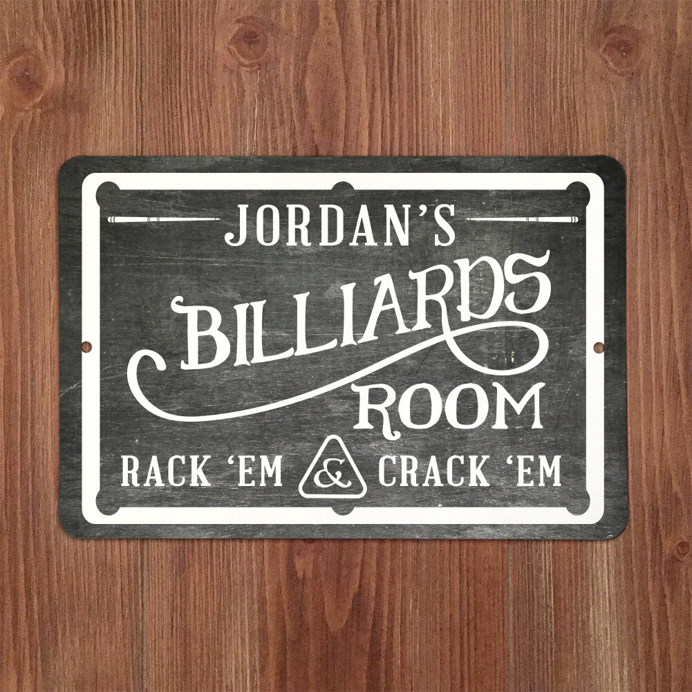 Personized Chalkboard-Look Billiards Room Metal Sign Wall Décor