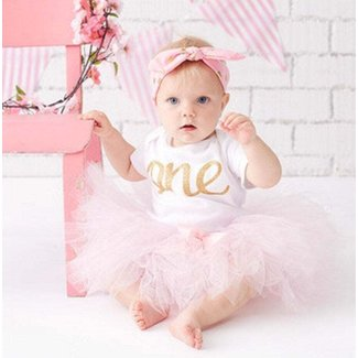 Pink And Gold First Birthday Outfit For Girls