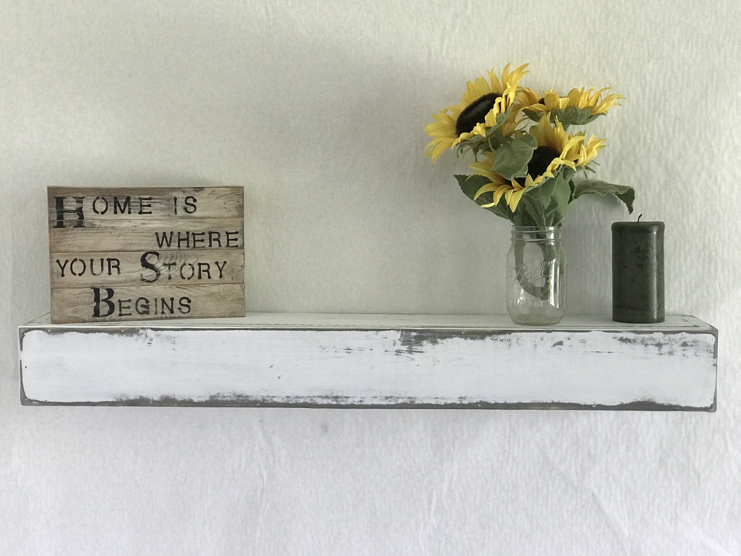 reclaimed distressed wood floating shelf
