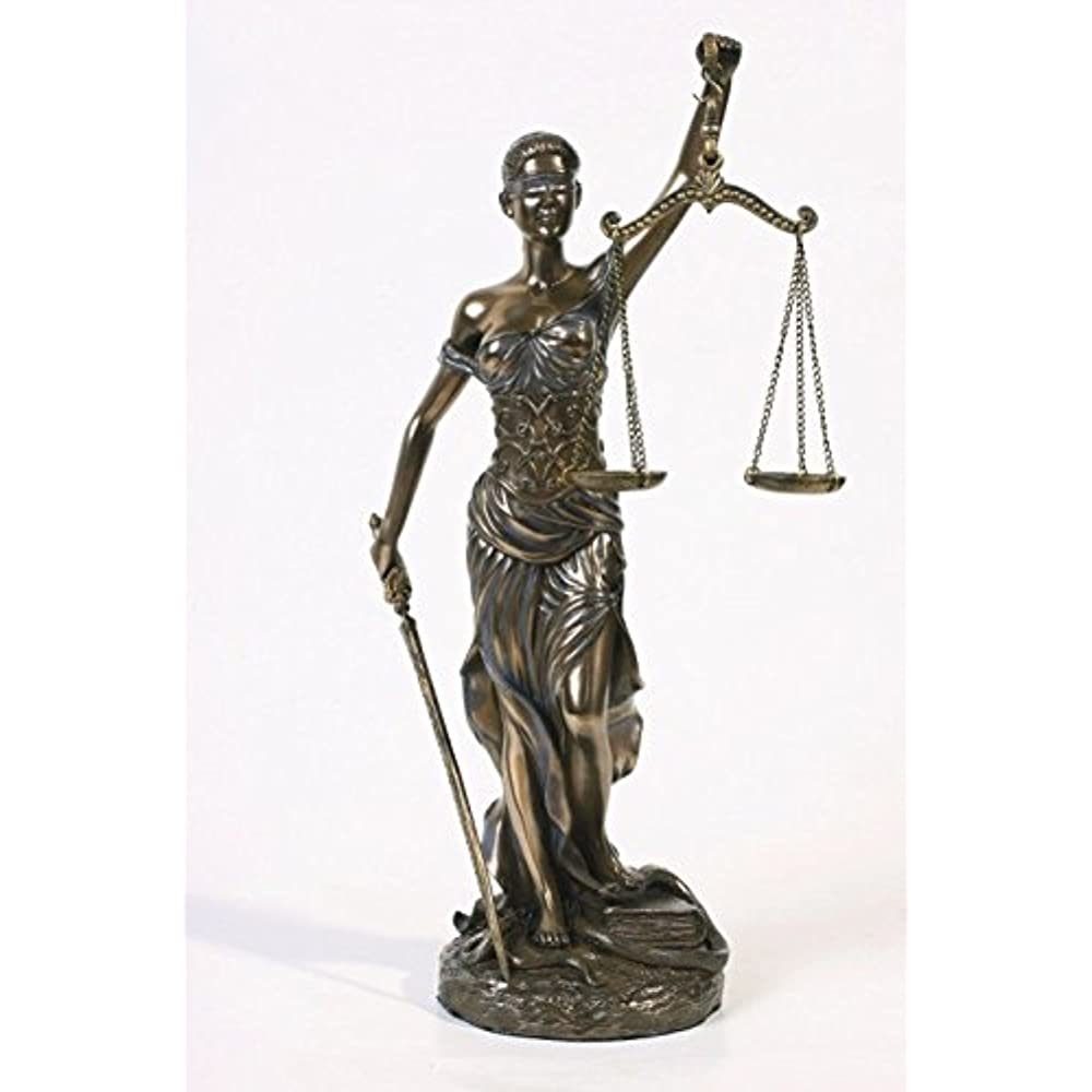 Lady Justice Statue Blind Themis Bonded Bronze Table Top Law Office Desk Figure