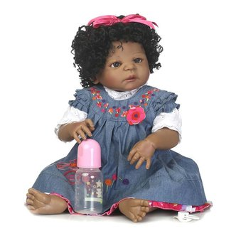 10c7531b2 SCDOLL African American Reborn Baby Dolls Full Silicone Body Lifelike  Realistic Newborn Toddlers Dolls Black Girl. This cute African American  Reborn Doll ...
