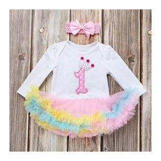 Sikye Baby Girl Outfit My 1st Birthday Romper Jumpsuit Tutu Dress Headband Gift Set