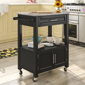 Snow Kitchen Island with Granite Top
