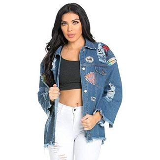 SOHO GLAM Oversized Patched Distressed Denim Jacket in Blue (S-XL)