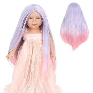 "STfantasy Doll Wig for 18"" AG OG Doll Journey Girls Gotz My Life Ombre Purple Pink Two Tone Straight Synthetic Hair Girls Gift"