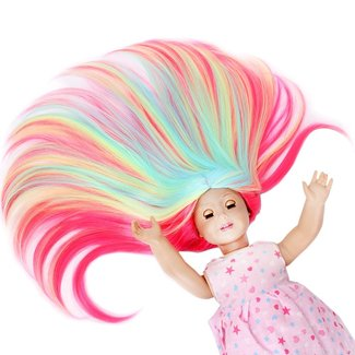 "STfantasy Doll Wig for 18"" American Girl Doll AG OG Journey Girls Gotz My Life Ombre Candy Multicolor Long Straight Synthetic Hair Girls Gift"