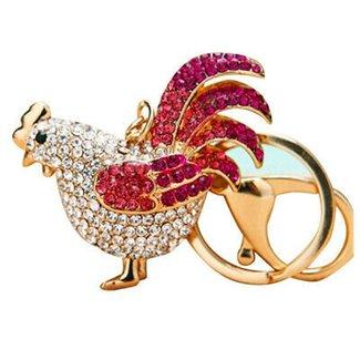 TOOGOO(R) Rooster Sparkling Rhinestone Keychain Crystal Handbag Charm Key Chain (Purple)