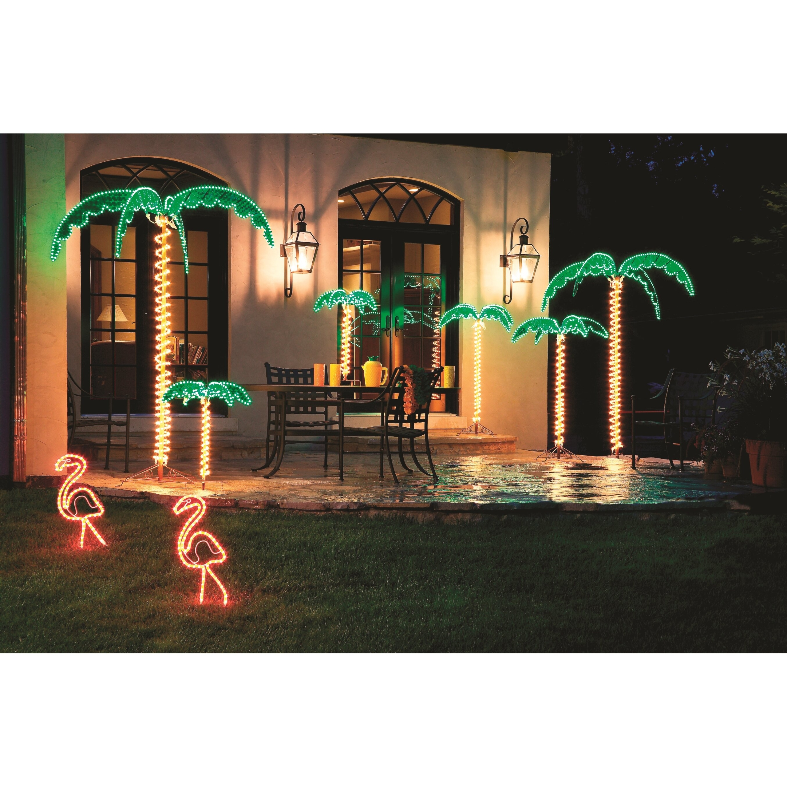 Tropical Lighted Holographic Rope Light Outdoor Palm Tree Decoration