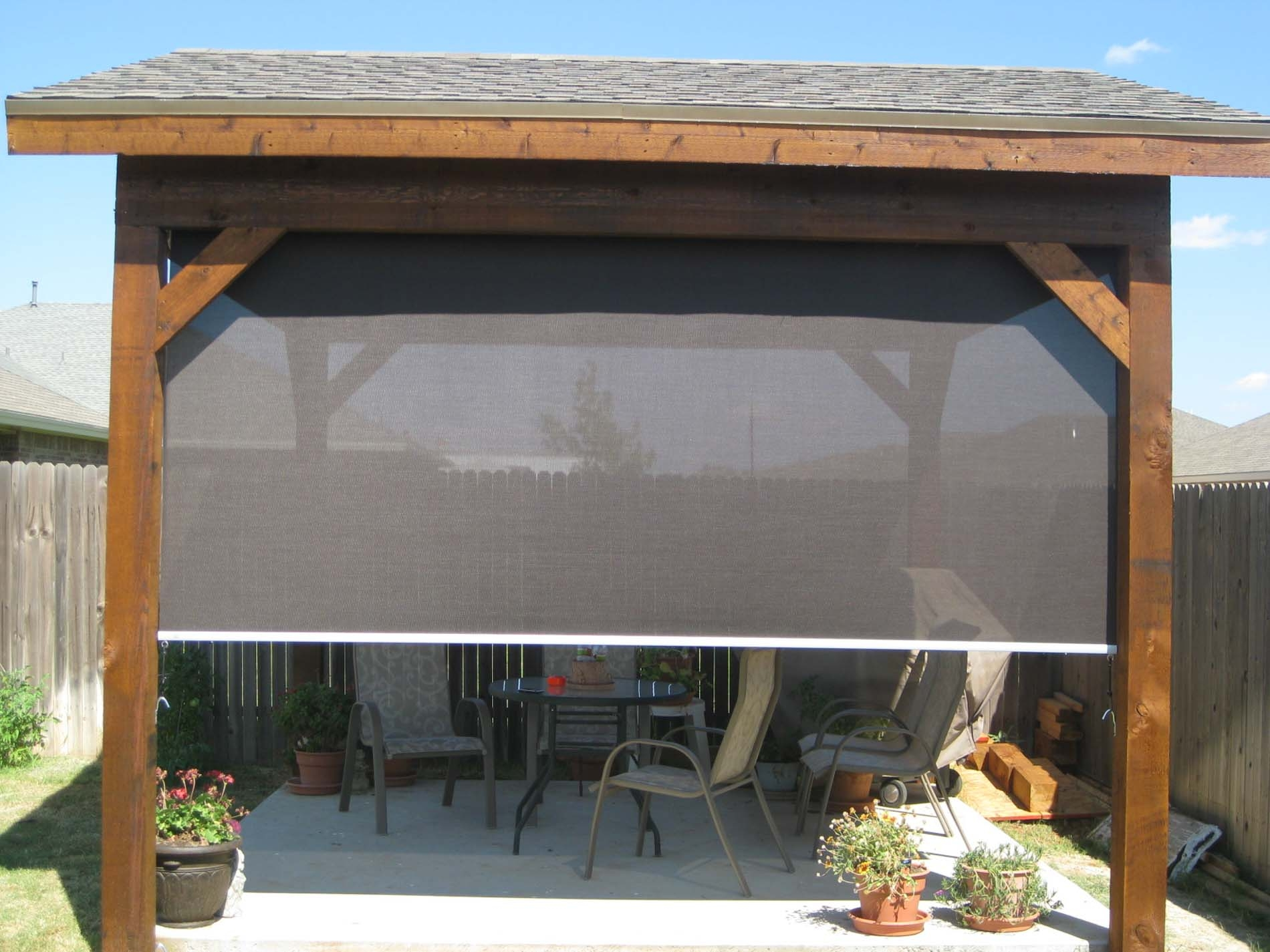 HENG FENG Outdoor Roller Shade Light Filtering UV Protection Privacy for Patio Deck Pergola 6x6 Brown
