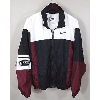 31a559e070f2 Vintage Nike Windbreaker Jacket Large Red White Blk 90s .