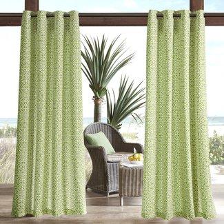 Willette Semi-Sheer Outdoor Grommet Single Curtain Panel