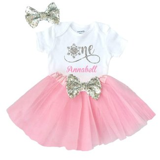 Winter Onederland 1st Birthday Outfit Baby Girl Snowflake One Personalized Name