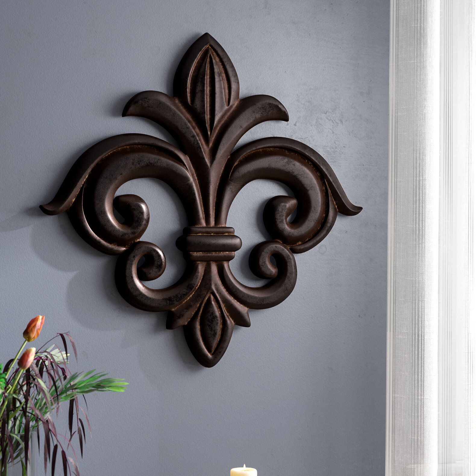 large fleur de lis wall decor visual hunt. Black Bedroom Furniture Sets. Home Design Ideas