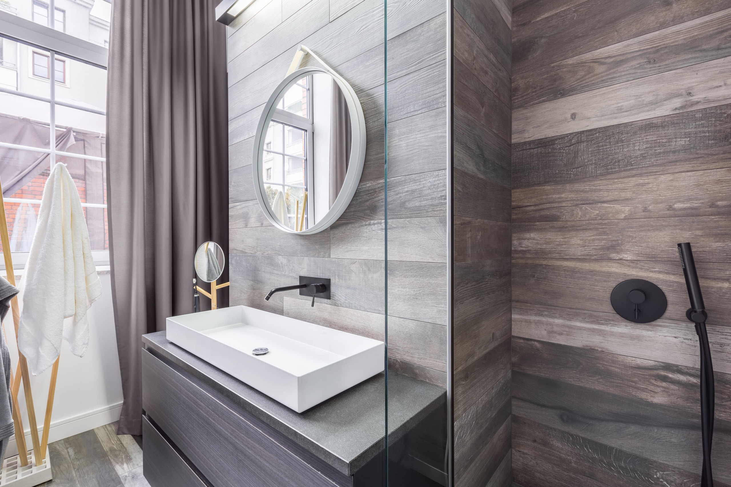 Wood-look ceramic shower tile