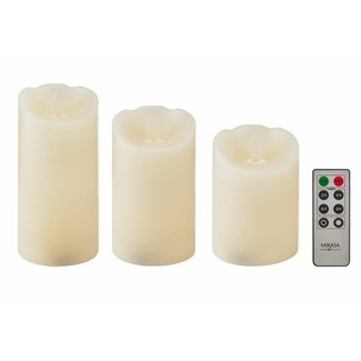 3 Piece Realistic LED Wax Unscented Pillar Candle Set