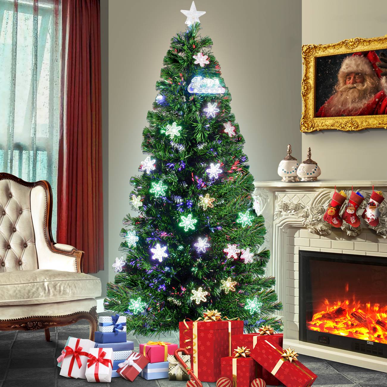 Artificial christmas trees with lights and decorations