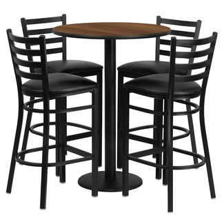 Alvarez Round Laminate 5 Piece Ladder Back Pub Table Set