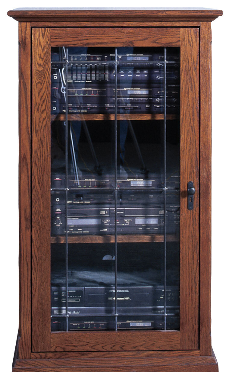 NEW Wide AV Component Stand Audio Stereo Entertainment Glass Media Cabinet Rack