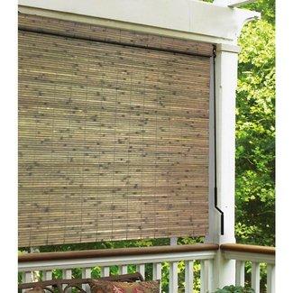Bamboo Crank Semi-Sheer Brown Roll-Up Shade