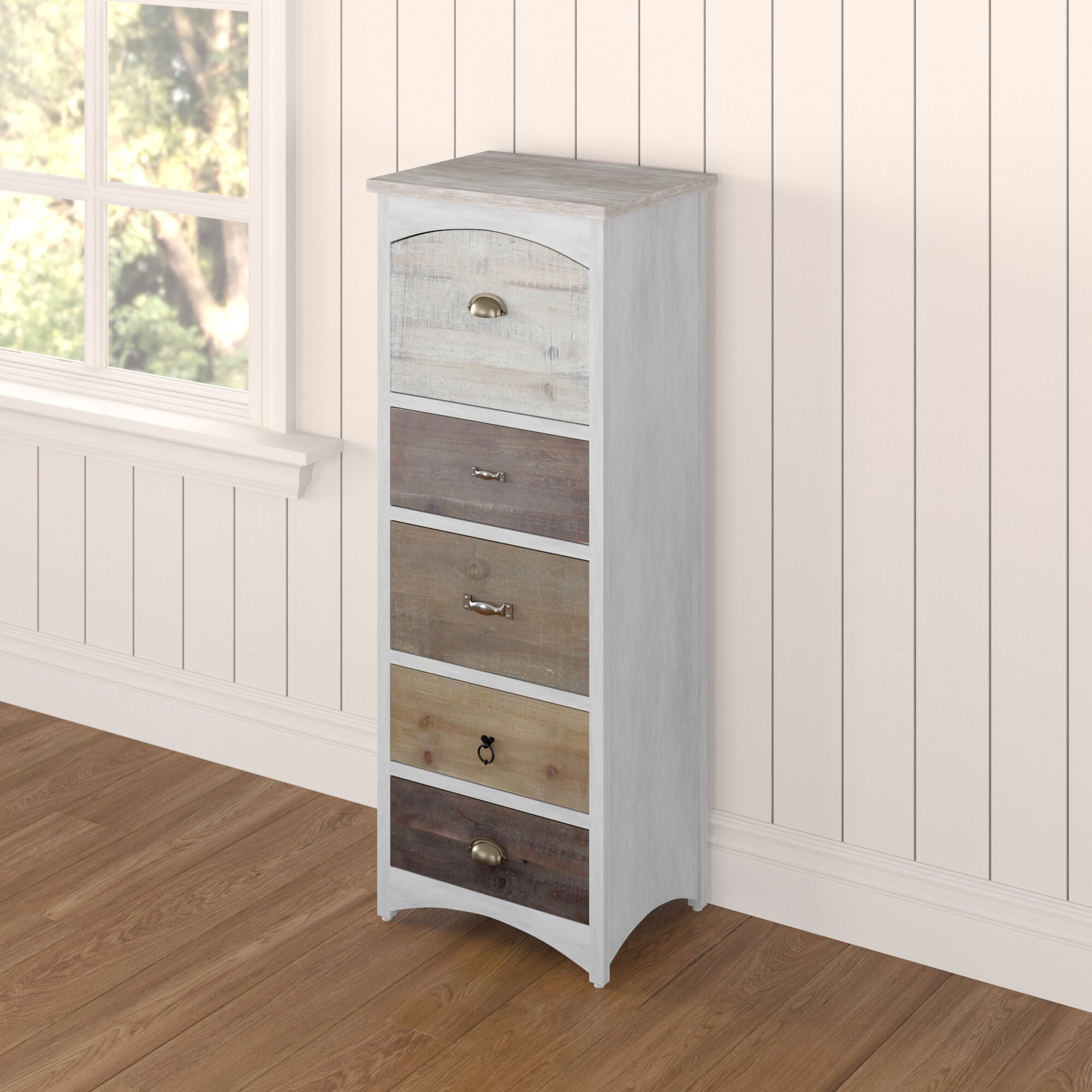 5 Drawer Narrow Chest of Drawers in White Slim Legs Soft Close
