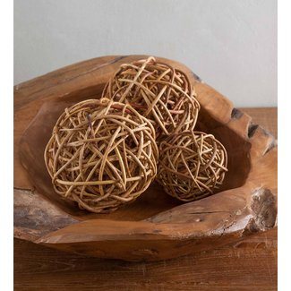 Bloomingdale Rattan Ball Décor 4 Piece Vase Filler Set