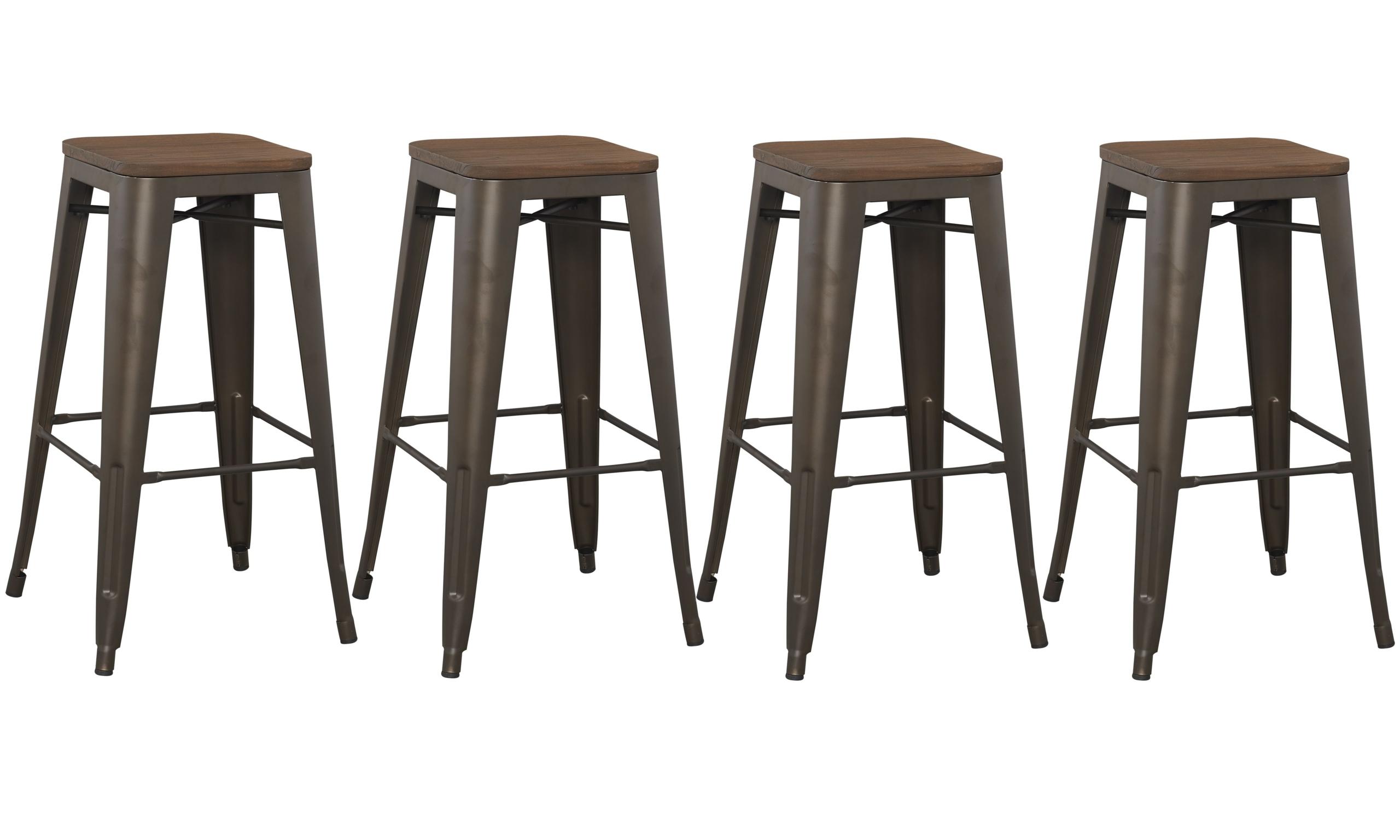 "Metal Bar Stool Industrial Vintage Rustic Shabby Wood Seat Metal Frame 18/"" Tolix"