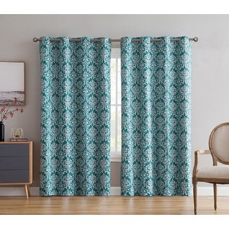 Buffington Print Damask Max Blackout Thermal Grommet Curtain Panels (Set of 2)