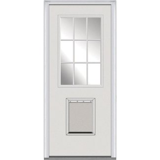 Clear Glass 1-Lite Fiberglass Smooth Primed Prehung Front Entry Door