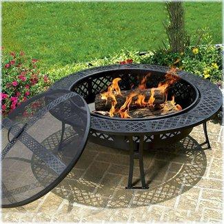 Diamond Steel Wood Burning Fire Pit Table