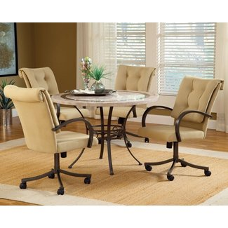 Dining Room Sets with Upholstered Chairs with Casters ...