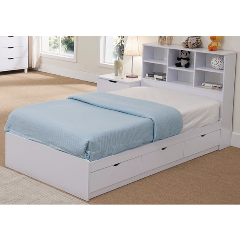 White Twin Bed With Storage You Ll Love, Queen Platform Bed With Storage And Headboard White