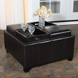 Great Deal Furniture Harley Leather Espresso Tray Top Storage Ottoman