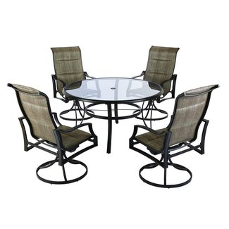 Hampton Bay Statesville Shell 5-Piece Aluminum Outdoor Dining Set