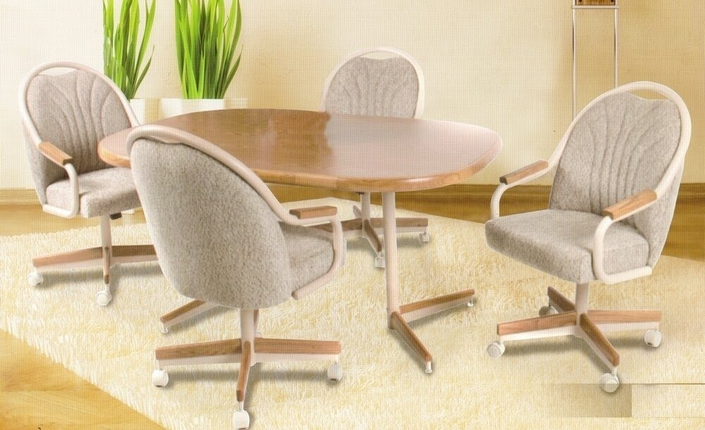 Set Of 4 Kitchen Chairs With Casters, Dining Room Chairs With Casters