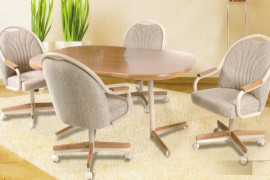 Set of 4 Kitchen Chairs with Casters