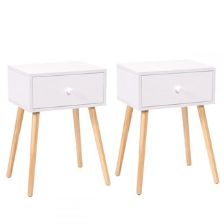 """LAZYMOON Furniture022 23.1"""" H White Mid Century Modern Side End Table Nightstand Set of 2 Home Furniture, Medium,"""
