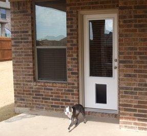 Exterior Door With Built In Pet Door You Ll Love In 2020 Visualhunt Modern window placements and decorative door lights will add personality to your entryway. exterior door with built in pet door
