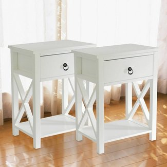 MAGIC UNION Wooden X-Design Side End Table Night Stand Storage Shelf with Bin Drawer Night Stand Sets of 2
