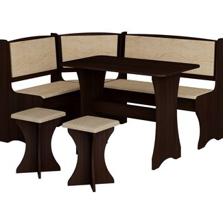 MEBLE FURNITURE & RUGS Breakfast Kitchen Nook Table Set, L-Shaped Storage Bench with 2 Stools, Vange Color
