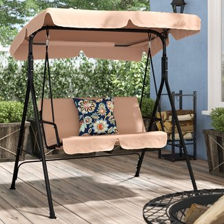Priory Patio Loveseat Canopy Hammock Porch Swing with Stand