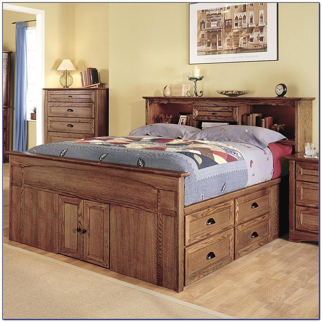 Queen Size Captains Bed You Ll Love In, Queen Captains Bed With Bookcase Headboard